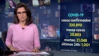 Brasil se torna o segundo país com o maior número de casos de coronavírus no mundo - São 330.890 casos. Quase 21 mil novos casos foram incluídos nas últimas 24 horasOficialmente, são agora mais de 21 mil óbitos no total.