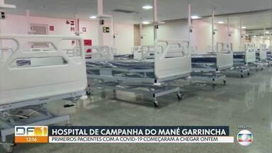 Hospital de campanha do Mané Garrincha começa a receber pacientes - Cinco pacientes já foram transferidos do Hran para o hospital de campanha. No local, serão tratadas pessoas com covid-19 em estado moderado.