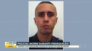 Policial morre durante perseguição - Soldado Lucas Leite perdeu o controle do veículo na noite de sábado.