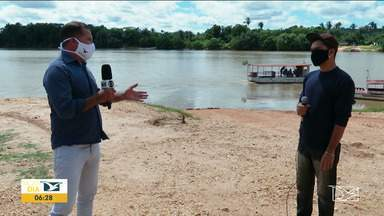 Obra no Rio Parnarama mobiliza população no MA - Moradores são contra o aterramento de um trecho do rio, como quer uma empresa dona do serviço de travessia por barcas para o Piauí.