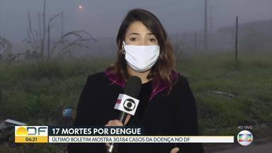 DF registra 17 mortes por dengue - Já são 30.184 casos da doença, de acordo com o último boletim da Secretaria de Saúde. Aumento de 65% em relação ao mesmo período do ano passado.
