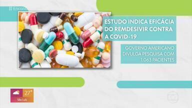 Revista publica estudo preliminar sobre remédio experimental para tratar casos de Covid-19 - O estudo mostra que o antiviral reduziu o tempo de recuperação dos pacientes. O grupo que recebeu o remédio teve uma taxa de mortalidade de 7%, contra 11% do grupo que não foi tratado com o antiviral.