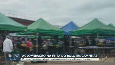 Moradora registra desrespeito ao distanciamento na Feira do Rolo em Campinas - Imagens foram feitas no domingo (25) na feira do Jardim Campo Belo.