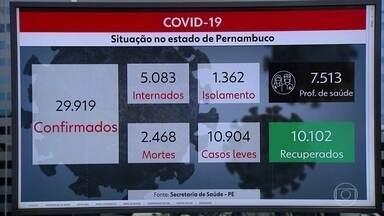 Pernambuco tem 2.468 mortes e 29.919 casos de Covid-19 - Estado também contabilizou 10.102 pessoas recuperadas da doença.