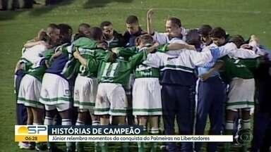 O bloco de esportes do Bom Dia - Globo transmite conquista da Libertadores pelo Palmeiras em 99.