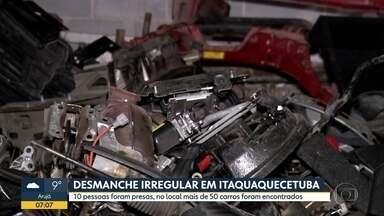 10 pessoas são detidas em desmanche de carros - 50 carros foram encontrados em Itaquaquecetuba.
