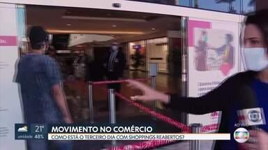 Shoppings têm movimento abaixo do normal - No Brasília Shopping, o movimento nos dois primeiros dias de reabertura foi, em média, 20% do que era antes da pandemia. Os lojistas pensam em estratégias para atrair consumidores.