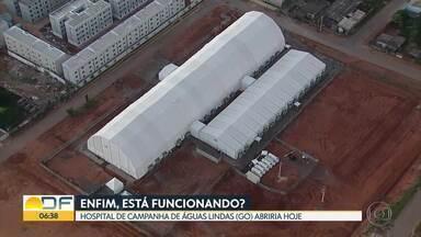 Hospital de campanha de Águas Lindas tem previsão de abrir hoje (1) - A Secretaria de Saúde do Governo de Goiás ainda não informou como será a reabertura, quantos pacientes vão ser recebidos e nem o que será feito nesta segunda.