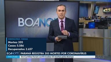 Paraná registra 205 mortes por coronavírus - Relatório da Secretaria de Estado da Saúde, divulgado nesta quarta-feira (3), aponta 331 novos casos da doença e seis novos óbitos, em comparação com o boletim do dia anterior.