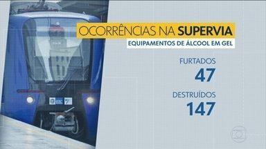 Embalagens de álcool são furtadas nas estações de trens da Supervia - Supervia denuncia que as embalagens de álcool das estações estão sendo roubadas ou destruídas.