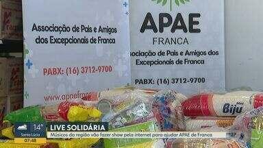 Músicos da região promovem live para ajudar a Apae de Franca, SP - Com impossibilidade de realizar eventos, associação encontrou alternativa para manter doações.