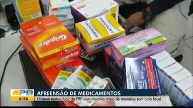 Homem é preso com antibióticos e outros medicamentos sem comprovação de origem, na PB - Segundo Polícia Rodoviária Federal (PRF), homem foi preso com 2.900 unidades de medicamentos diversos.