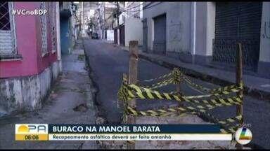 Cosanpa realiza trabalho de recapeamento asfáltico em rua de Belém - Um buraco está atrapalhando o trânsito no local.