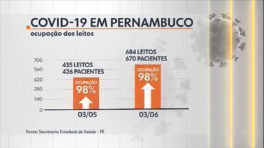 Pernambuco reabre comércio mesmo com taxa de ocupação de leitos perto do limite - Reabertura das atividades em Pernambuco, que começou nesta semana, está preocupando o governo do estado. Isso porque a taxa de ocupação de leitos de UTI continua perto do limite.