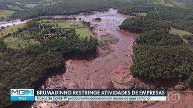 Suspensas atividades de empresas que atuam em obras relacionadas ao rompimento de barragem - Brumadinho registrou aumento no número de casos da Covid-19. As empresas trabalham em obras de recuperação por causa do rompimento da barragem do Córrego do Feijão, no ano passado