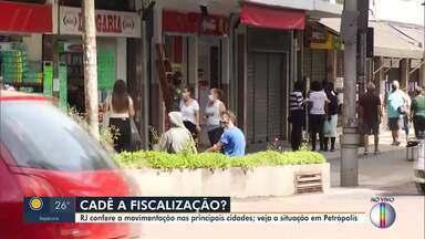RJ1 confere a movimentação nos comércios em Petrópolis, no RJ - Os decretos municipais permanecem válidos até o dia 24 de maio na cidade.