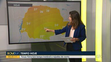 Terça-feira (09) tem tempo instável - Também estão previstas rajadas fortes de vento.