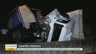 Colisão entre carretas deixa feridos entre Ribeirão Preto e Brodowski, SP - Acidente aconteceu no quilômetro 330 da Rodovia Candido Portinari.