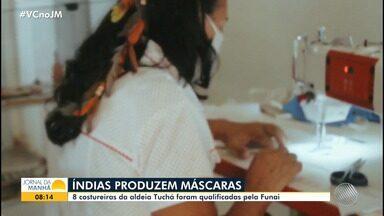 Índias da aldeia Tuchá, no norte do estado, produzem máscara seguindo recomendações da OMS - Elas foram qualificadas pela Funai e estão sendo remuneradas pela atividade. A expectativa é que as mulheres confeccionem mais de oito mil equipamentos de proteção individual.