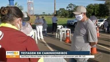 Caminhoneiros fazem teste de COVID-19 na BR-163, em Campo Grande - Na região de Três Lagoas foram 7 testes positivos para a doença