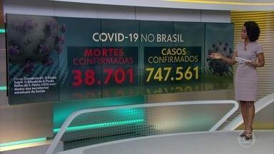 Brasil registra 38.701, segundo o consórcio de veículos de imprensa - O consórcio de veículos de imprensa divulgou às 13h novos números levantados junto às secretarias de saúde. Segundo esse levantamento já são 747.561 casos confirmados.