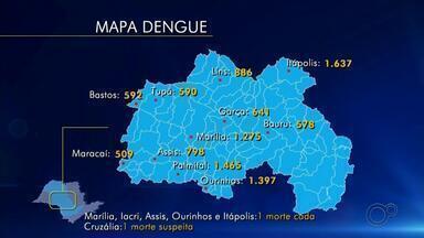 Confira os casos de dengue nas cidades do centro-oeste paulista - Mapa mostra o avanço da dengue nas cidades do centro-oeste paulista. Itápolis, Palmital e Ourinhos lideram a lista.