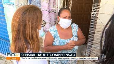 Pandemia: trabalhadora ambulante, que está sem trabalhar, consegue ajuda e cesta básica - Confira.