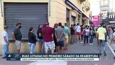 No primeiro sábado da reabertura do comércio na capital, ruas e lojas ficam cheias - Nem todo consumidor tomou as precauções com os protocolos de saúde para evitar a Covid-19