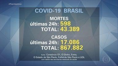 Brasil chega a 43.389 óbitos por Covid-19, diz consórcio de veículos de imprensa - Foram registrados 598 óbitos nas últimas 24 horas. Oficialmente, são quase 868 mil brasileiros contaminados pelo novo coronavírus desde o início da pandemia.
