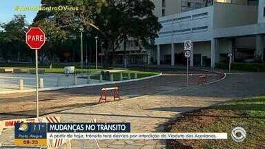 Trânsito de Porto Alegre tem desvios por causa da interdição do viaduto dos Açorianos - Assista ao vídeo.
