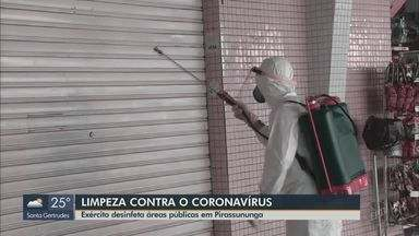 Exército desinfeta áreas públicas em Pirassununga - O trabalho faz parte do combate à pandemia de Covid-19.