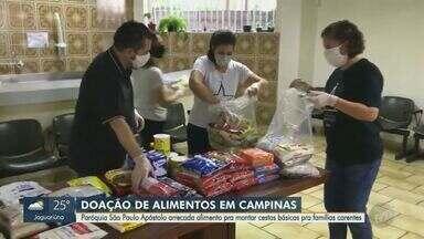Paróquia São Paulo Apóstolo arrecada alimentos para ajudar famílias carentes de Campinas - Esse é um trabalho que eles já fazem regularmente, mas, com a pandemia, aumentou muito a demanda por doações.