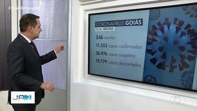 Goiás tem 11.553 casos confirmados de coronavírus - As mortes chegaram a 246 nesta terça-feira.