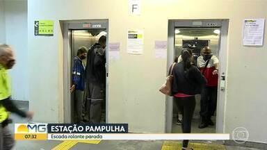 Estação Pampulha tem escada parada e elevador cheio - Equipe do Bom Dia Minas mostrou movimento no local nesta quarta-feira.