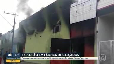 Incêndio atinge fábrica no centro-Oeste - Duas pessoas morrem e uma fica gravemente ferida em Nova Serrana.