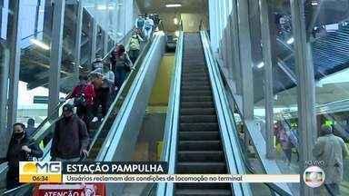 Escada rolante estava parara hoje de manhã em estação de BH - Usuários reclamam das condições de locomoção no terminal Pampulha.