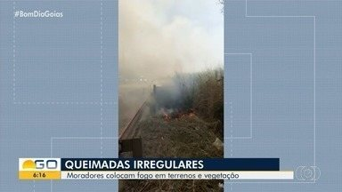 Queimadas são realizadas em Goiânia - Tempo seco nesta época do ano ajuda fogo a se alastrar.