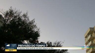Veja como fica o tempo no Rio de Janeiro nesta quinta-feira (18) - Previsão de tempo bom, sem chuva e muito sol. Temperatura deve chegar aos 28ºC.