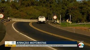 Rodovias da região sofrem interdições para obras na pista - Um dos trechos está na Rodovia Raposo Tavares (SP-270).