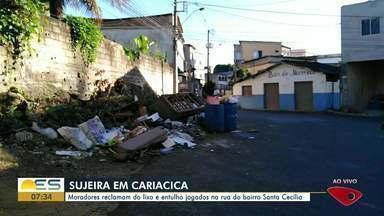 Prefeitura de Cariacica justifica entulho e sujeira em ruas do bairro Santa Cecília - Cerca de 300 pontos viciados de descarte irregular de lixo prejudicam as coletas, que são feitas três vezes por semana
