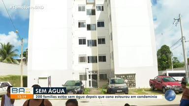Moradores de condomínio estão há três dias sem água depois de problema na tubulação - Eles afirmam que o problema é recorrente e ainda não foi resolvido.