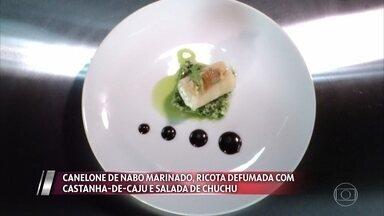 Kaywa apresenta Canelone de nabo marinado, ricota defumada e salada de chuchu - Confira a avaliação dos mestres