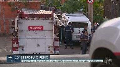 Viatura dos Bombeiros atropela pedestres durante ocorrência de incêndio em Campinas - Ao menos 17 pessoas ficaram feridas, sendo duas em estado grave. Veículo também bateu em ambulância.