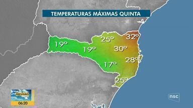 Confira a previsão do tempo para esta quinta-feira em Santa Catarina - Confira a previsão do tempo para esta quinta-feira em Santa Catarina