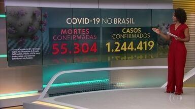 Hoje o Brasil soma 55.304 mortes confirmadas de Covid-19, segundo consórcio de imprensa - Casos confirmados: 1.244.419