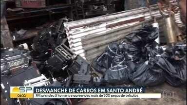 Desmanche de veículos em Santo André - 3 homens foram presos e mais de 500 peças foram apreendidas.