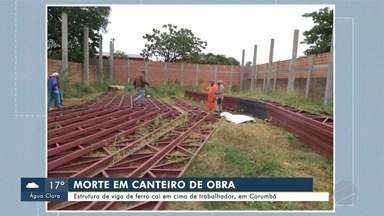 Estrutura de viga de ferro cai e mata trabalhador em Corumbá - Estrutura de viga de ferro cai e mata trabalhador em Corumbá