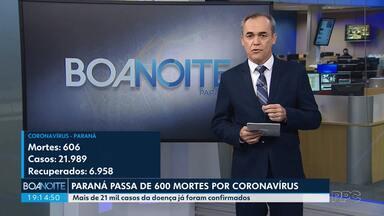 Paraná passa de 600 mortes por coronavírus - Mais de 21 mil casos já foram confirmados.