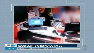 Adolescente é apreendido suspeito de assaltar farmácia e restaurante em Campina Grande - Em uma das ações ele contou com a participação de um homem, que também foi preso.