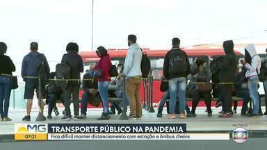 Telespectadores reclamam de ônibus e estações cheias - Veja imagens desta quarta-feira em Ribeirão das Neves.